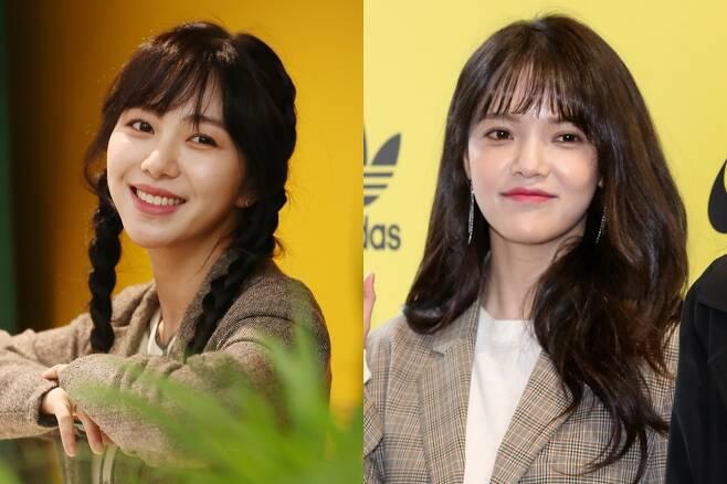 걸그룹 AOA 출신 배우 권민아(왼쪽), AOA 리더 지민. 연합뉴스