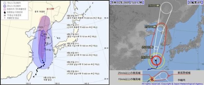 우리나라 기상청의 태풍 '바비' 예상경로(왼쪽)와 일본 기상청의 예상 경로/사진=각국 기상청 화면 캡처
