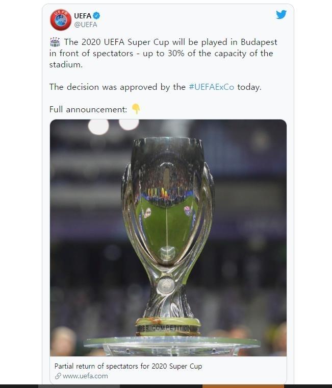 올해 슈퍼컵 경기에 수용 규모의 30%까지 관중 입장을 허용하기로 한 UEFA. [UEFA 트위터. 재판매 및 DB 금지]