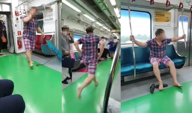 '지하철 마스크 싸움, 당당하게 슬리퍼로 싸대기까지…지하철 노마스크 참교육을 하려했던 그 순간' 유튜브채널 사사건건 갈무리 © 뉴스1