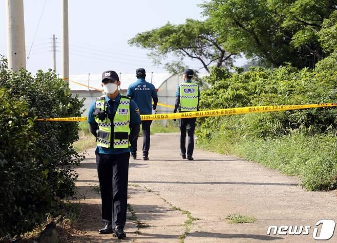31일 낮 12시쯤 제주시 도두1동 이면도로 옆 밭에서 여성 변사체가 발견돼 경찰이 수사하고 있다.2020.8.31/뉴스1 © News1 홍수영 기자