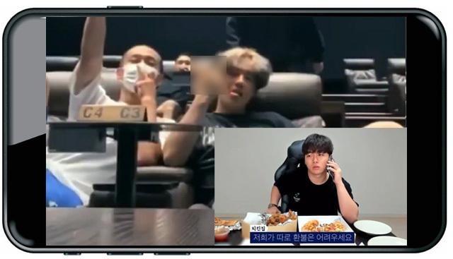 """지난달 21일 유튜브 채널 '류정란'에 올라온 영상에서 서울에 있는 영화관을 방문한 류정란과 친구 3명이 영업이 끝난 상영관에 몰래 침입해 좌석에 드러 누운 채 가운뎃손가락을 들어 보이고 있다. 작은 사진은 한 프랜차이즈 업체에서 음식을 주문한 유튜버 '송대익'이 """"배달 온 치킨을 베어 문 자국이 있고, 피자는 두 조각이 없다""""며 점주와 통화하는 모습. 해당 영상은 모두 가짜임이 드러났다. 유튜브 캡처"""