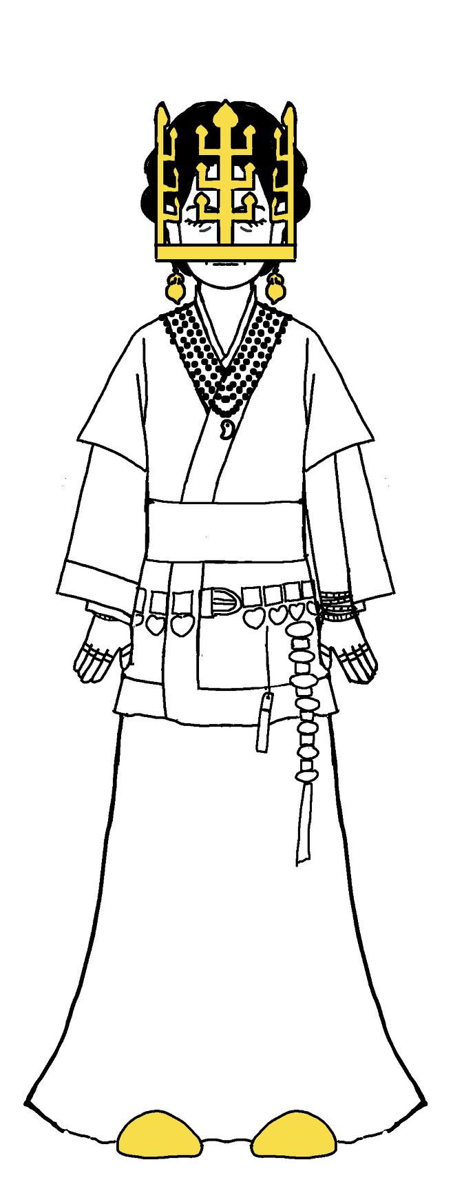 6세기 신라 귀족 여성이 금동관부터 금귀걸이, 구슬 목걸이, 은허리띠, 은팔찌, 은반지, 금동신발까지 착장한 상태를 그린 모습. 금동관은 머리에 쓰지 않고 얼굴을 덮었던 것으로 추정된다. 삼국시대 장신구 연구의 권위자인 이한상 대전대 교수가 그린 이미지다. /이한상 교수 제공