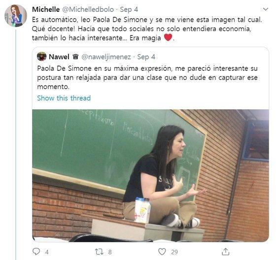 아르헨티나 엠프레사대학(UADE)의 파올라 데 시모네(46) 교수의 제자가 그를 추모하는 글을 올렸다. [사진 트위터 캡처]