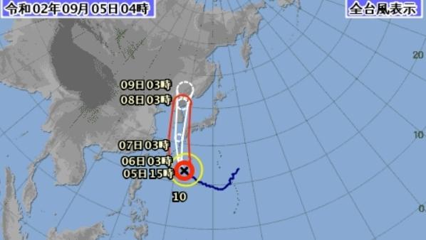 일본 기상청의 제10호 태풍 하이선 경로 예보도. [자료사진]