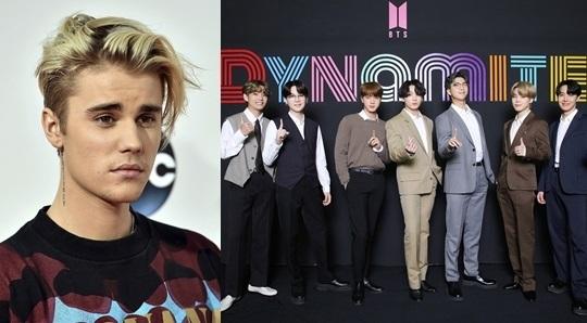 미국 팝스타 저스틴 비버(왼쪽 사진)과 그룹 방탄소년단(BTS). AP뉴시스, 빅히트엔터테인먼트 제공