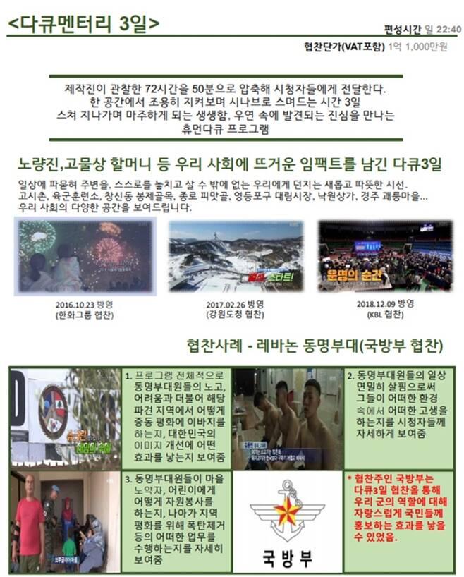 ▲ KBS '다큐 3일' 협찬 제안서 갈무리.