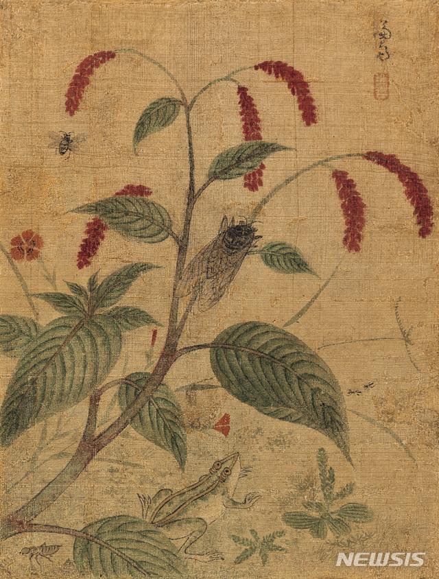 [서울=뉴시스] ) 겸재 정선, 초충도(草蟲圖), ink and color on silk, 21.3☓28.4cm, 경매 추정가 4000만~1억원.