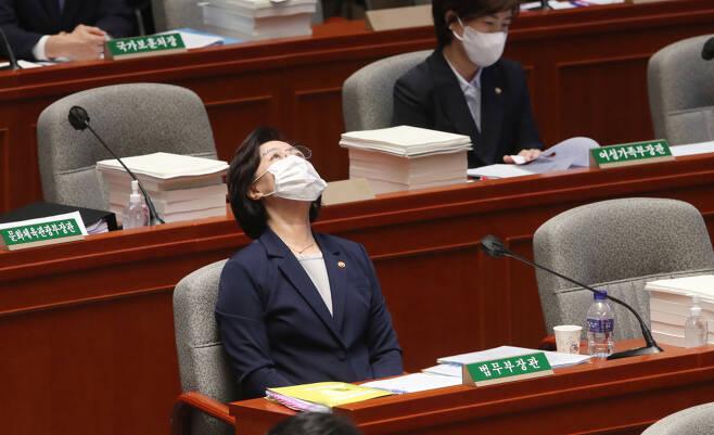 추미애 법무부장관이 1일 국회 예결위의장에서 열린 전체회의 도중 고개를 뒤로 젖히고 생각에 잠겨있다. ⓒ 연합뉴스