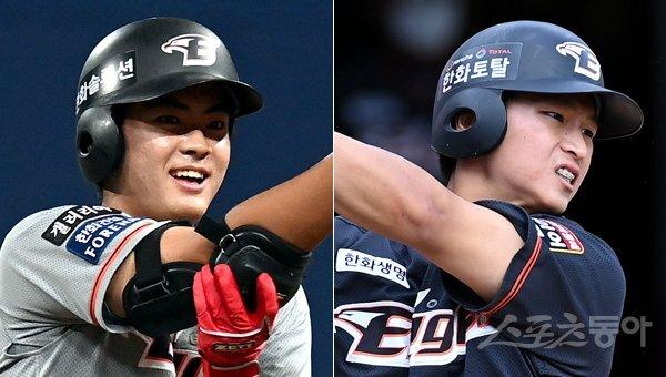 한화 임종찬(왼쪽)-최인호. 스포츠동아DB
