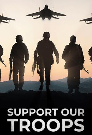 러시아 전투기와 군인을 광고 이미지로 쓴 도널드 트럼프 미국 대통령의 선거캠프 ['트럼프가 미국을 다시 위대하게 위원회' 광고 캡처. 재판매 및 DB 금지]