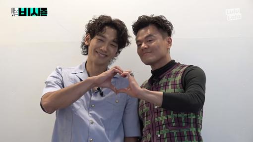 가수 비(왼쪽)와 박진영. 사진출처|유튜브 영상 캡처