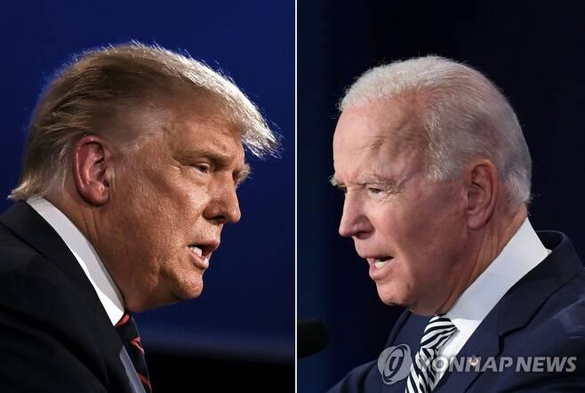 첫 TV토론 맞대결 벌인 트럼프-바이든 (클리블랜드 AFP=연합뉴스) 도널드 트럼프(왼쪽) 미국 대통령과 조 바이든 민주당 대선 후보가 29일(현지시간) 오하이오주 클리블랜드에서 대선후보 첫 TV토론을 벌이고 있다. leekm@yna.co.kr
