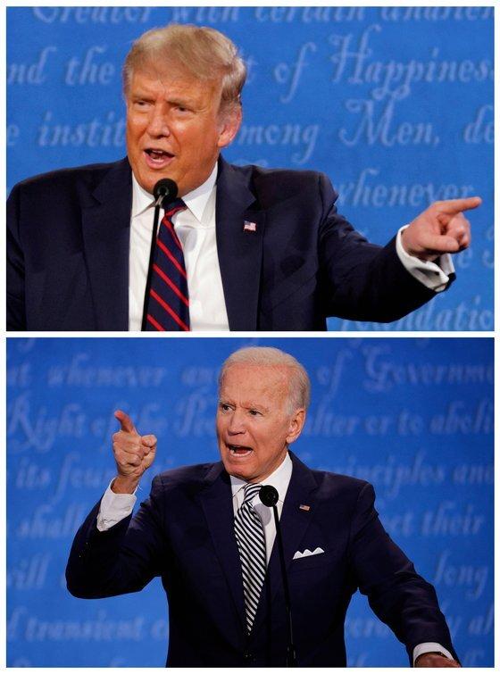 2020년 미국 대선 첫 TV 토론에서 도널드 트럼프 대통령과 조 바이든 민주당 대선 후보는 날선 공방을 벌였다. [로이터=연합뉴스]