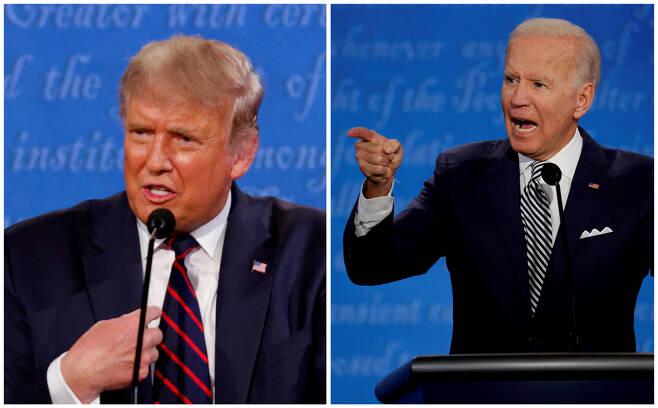 3일(현지시간)로 미국 대통령 선거가 한 달 남았다. 사진은 대선 첫 TV토론에서 격론을 펼치는 도널드 트럼프 대통령과 조 바이든 민주당 후보. [로이터]