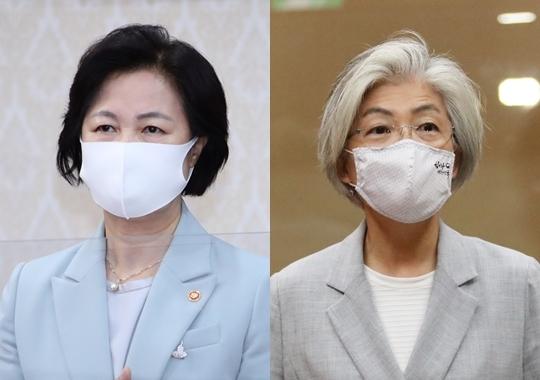 추미애 법무부 장관(왼쪽 사진)과 강경화 외교부 장관. 연합뉴스