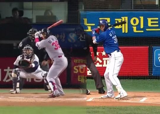 김동엽은 SK 시절부터 이어온 클로즈드 스탠스(왼쪽)에서 올 시즌 중반 오픈 스탠스(오른쪽)로 변화를 줬다(사진=해당 중계화면 캡처)