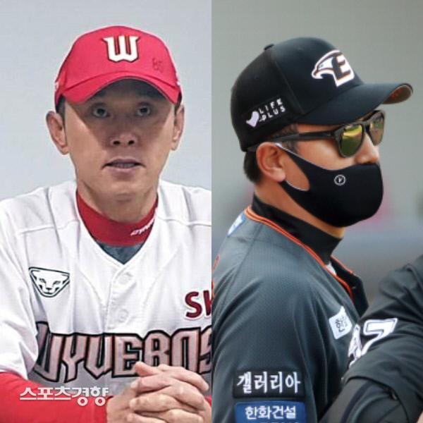SK 박경완 감독대행(왼쪽)과 한화 최원호 감독대행. 연합뉴스