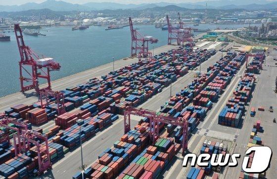 울산신항컨테이너터미널에 수출·입을 기다리는 컨테이너들. © 뉴스1