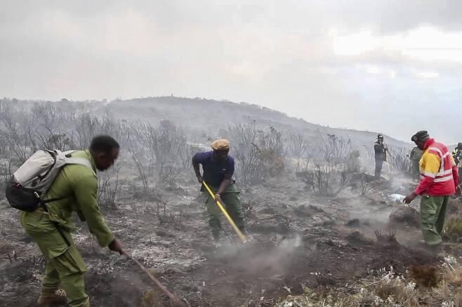 12일 산림관리원과 자원봉사자들이 산불을 끄고 있다. AP=연합뉴스