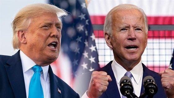 미국 대선의 두 주인공: 도널드 트럼프 미국 대통령(왼쪽)과 조 바이든 민주당 대선후보. [AP=연합뉴스]