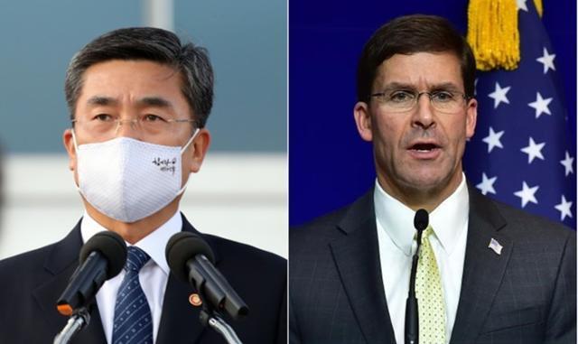 서욱(왼쪽) 국방부 장관과 마크 에스퍼 미 국방장관. 한국일보 자료사진