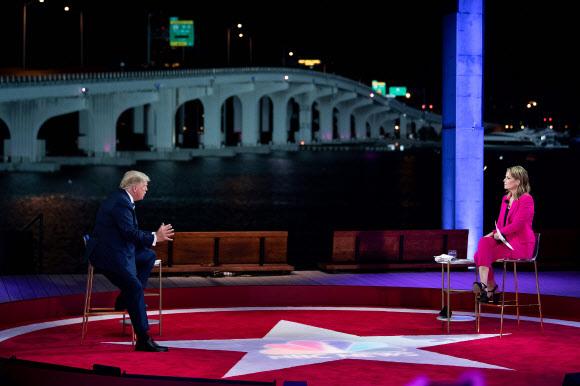 트럼프의 타운홀 행사-AFP 연합뉴스