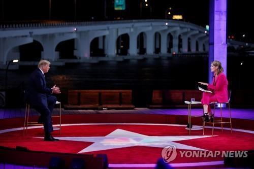 NBC방송 타운홀 행사 참석한 트럼프 대통령 [로이터=연합뉴스]