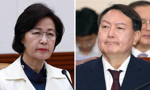 추미애 법무부 장관(왼쪽)과 윤석열 검찰총장. 세계일보 자료사진
