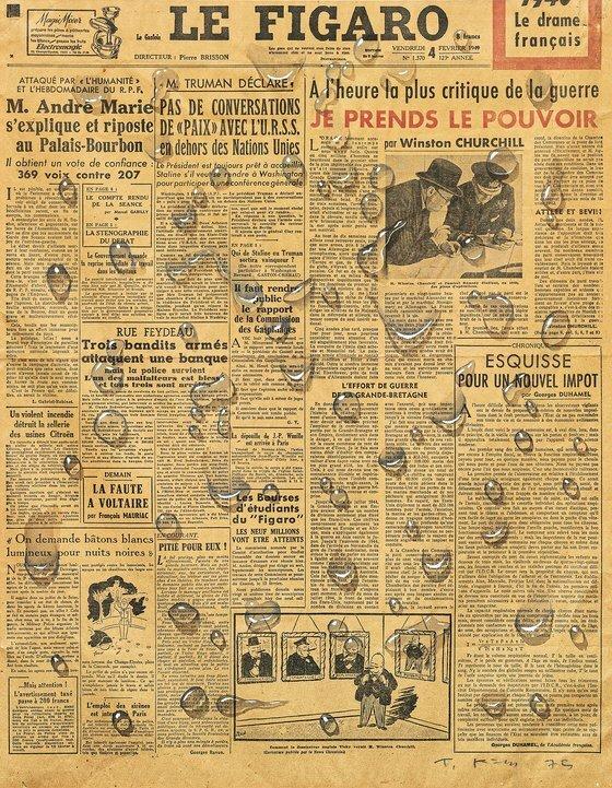 '르 피가로(Le Figaro)', 1975, 신문에 수채, 53.5x42㎝. [사진 갤러리현대]