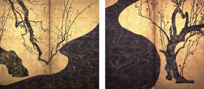 오가타 코린의 '홍백매도병풍'. 모아미술관 소장 / 사진출처 = 위키피디아