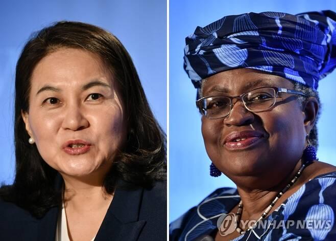 WTO 수장 선거 최종결선에 오른 유명희·오콘조이웨알라 세계무역기구(WTO) 사무총장 선거에서 최종 결선에 진출한 유명희 한국 산업통상자원부 통상교섭본부장과 응고지 오콘조이웨알라 전 나이지리아 전 재무·외무장관이 2020년 7월 15∼16일 스위스 제네바에서 각각 출마 기자회견을 할 당시의 모습. [AFP·연합뉴스 자료사진]