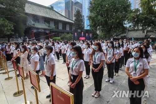 중국 베이징 소재 한 대학의 개강행사 [신화=연합뉴스 자료사진]