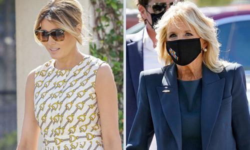 노마스크와 마스크 도널드 트럼프 대통령 부인 멜라니아 여사(왼쪽)가 3일(현지시간) 플로리다주 팜비치에서 투표를 끝낸 뒤 마스크를 쓰지 않은 채 걸어 나오고 있다. 반면 조 바이든 민주당 후보의 부인 질 여사는 마스크를 쓴 상태에서 플로리다주 세인트피터즈버그에서 투표를 마쳤다. 팜비치·세인트피터즈버그=AFP·AP연합뉴스