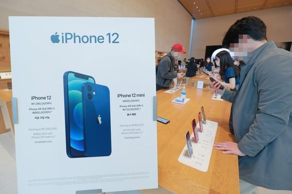 애플 신제품 아이폰12가 정식 출시된 지난달 30일 오전 서울 강남구 신사동 애플 가로수길 매장을 찾은 시민들이 아이폰12를 살펴보고 있다. /연합뉴스