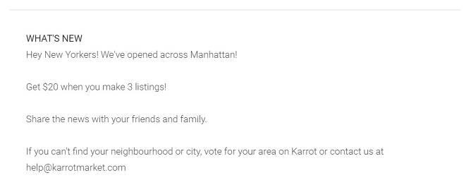 앱마켓 구글플레이에 게시된 'Karrot(당근마켓 영문버전)' 앱 업데이트 내용 [구글플레이 캡처]