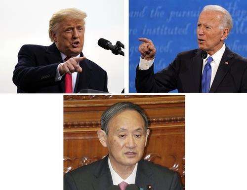 도널드 트럼프 미국 대통령(왼쪽 위), 조 바이든(오른쪽 위) 전 부통령, 스가 요시히데 일본 총리. [AP·교도=연합뉴스 자료사진]