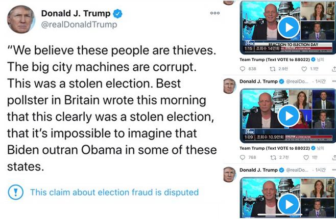 표를 도둑맞았다고 주장한 트윗(왼쪽), 부정선거 의혹을 제기하는 트럼프 지지자들의 폭스뉴스 인터뷰(오른쪽)/사진=트럼프 트위터 화면캡처