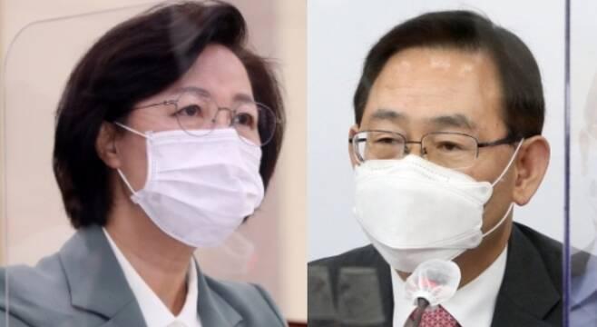 추미애 법무부 장관 vs 주호영 국민의힘 원내대표 - 서울신문DB