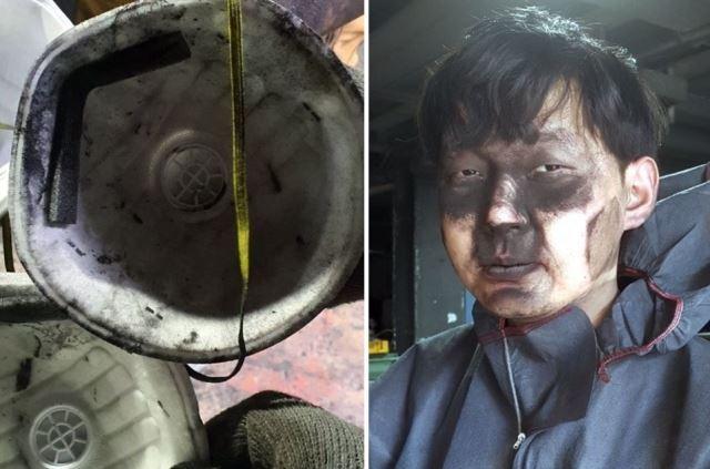 현대자동차 전주공장에서 일하는 사내하청 비정규직 노동자(오른쪽)가 일 하면서 쓰고 있던 마스크를 벗자 얼굴이 분진으로 뒤덮여 있다. 왼쪽은 안까지 분진으로 뒤덮인 마스크 사진. 연합뉴스