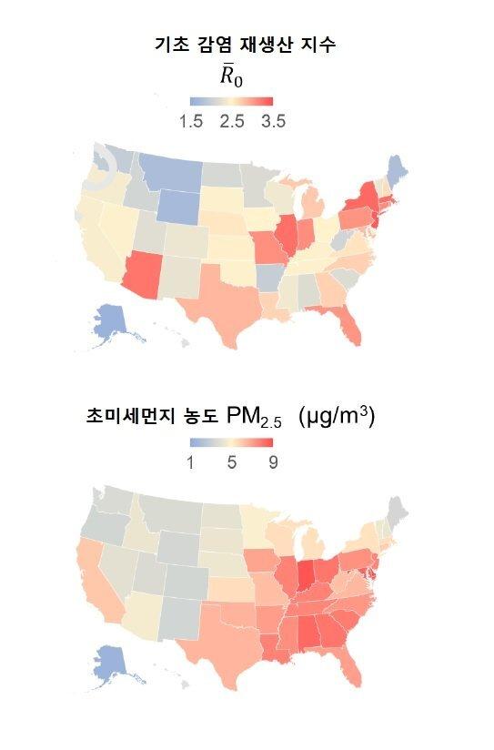 미국 주별 코로나19 기초 감염 재생산지수(Ro)와 초미세먼지 노출 농도(2000~2017년 평균) 분포 비교.자료: 미 센트루이스 워싱턴대학.