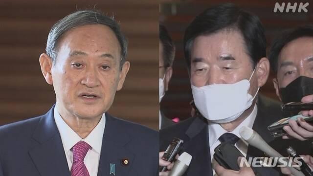 스가 일본 총리와 김진표 한일의원연맹 회장 <NHK 캡쳐>