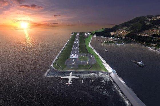 국토교통부가 국내 섬 지역 소형공항을 대표할 '울릉공항 건설사업'이 2025년 개항을 목표로 착공에 들어간다고 15일 밝혔다. 사진은 울릉공항 조감도. 연합뉴스