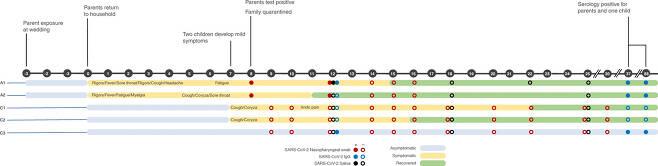 사웬코 가족의 코로나19 증상과 검사 시기를 나타낸 도표.(사진=네이처 커뮤니케이션스)