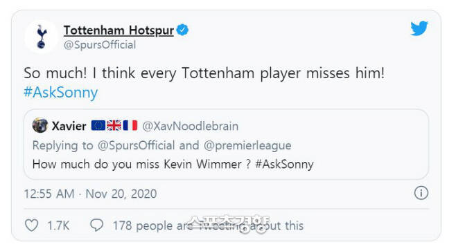 20일 토트넘 공식 트위터에서 케빈 비머를 그리워하냐는 팬의 질문에 손흥민이 아주 많이 라고 답했다.