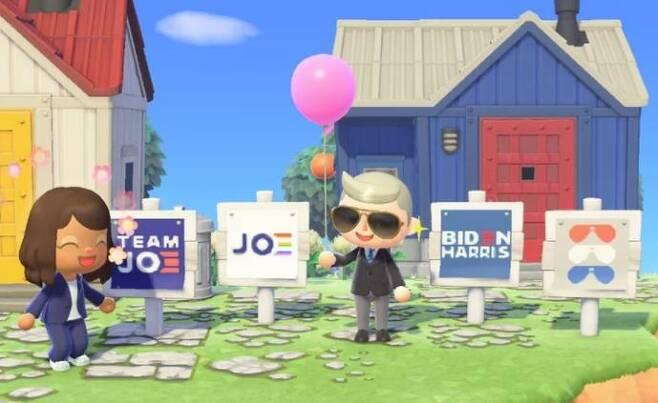 게임 '동물의 숲'에 등장한 조 바이든 미국 대통령 당선인과 카멀라 해리스 부통령 당선인 [온라인 캡처. 재판매 및 DB 금지]