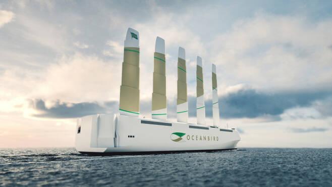 스웨덴에서 2024년 완성을 목표로 개발 중인 범선 '오션버드'의 항해 상상도. 5개의 돛을 이용해 길이 200m에 이르는 선체를 풍력으로 움직인다.  월레니우스 마린 제공