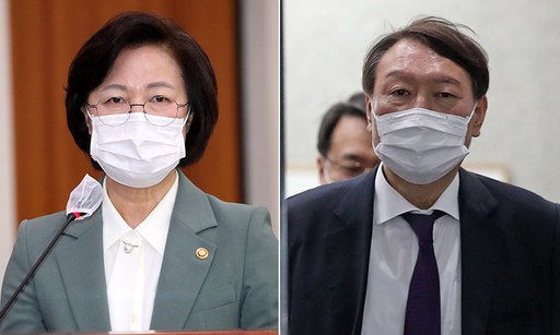 추미애 법무부 장관(왼쪽), 윤석열 검찰총장. 연합뉴스