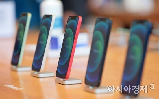 애플의 첫 5G 스마트폰 아이폰12 시리즈가 국내 공식 출시한 30일 서울 강남구 가로수길 애플스토어에서 제품이 전시돼 있다./김현민 기자 kimhyun81@