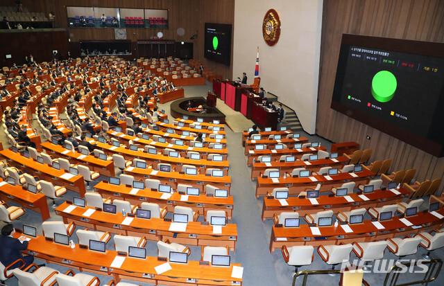 [서울=뉴시스] 장세영 기자 = 상가건물 임대차보호법 일부개정법률안이 30일 서울 여의도 국회에서 열린 본회의에서 미래통합당 의원들이 표결에 불참한 가운데 가결되고 있다. 2020.07.30. photothink@newsis.com